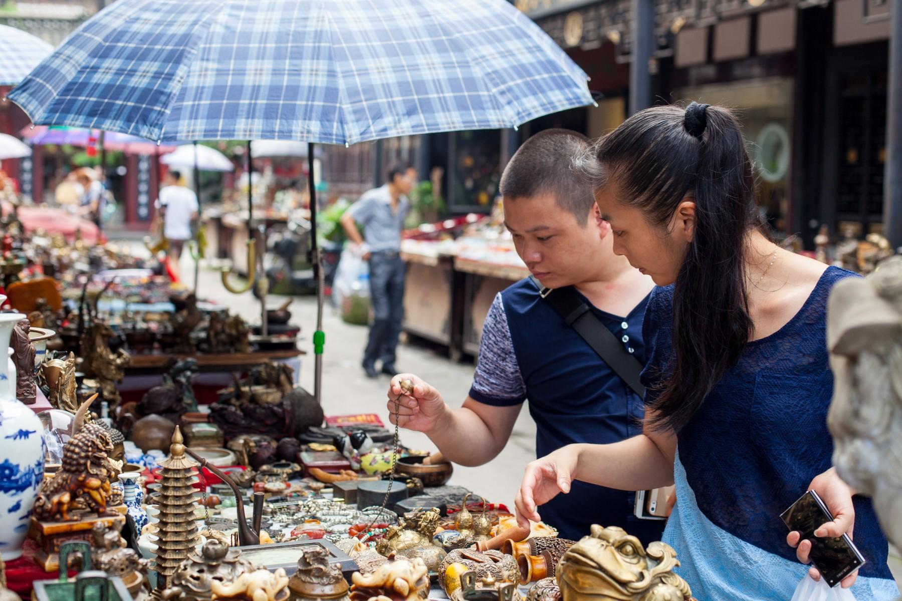 Market stall Chengdu, Sichuan province, China.