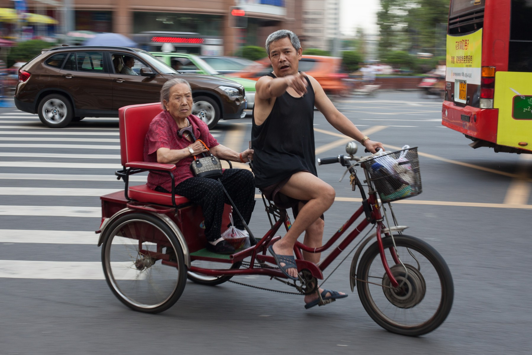 Tricycle on the streets of Chengdu, Sichuan, China