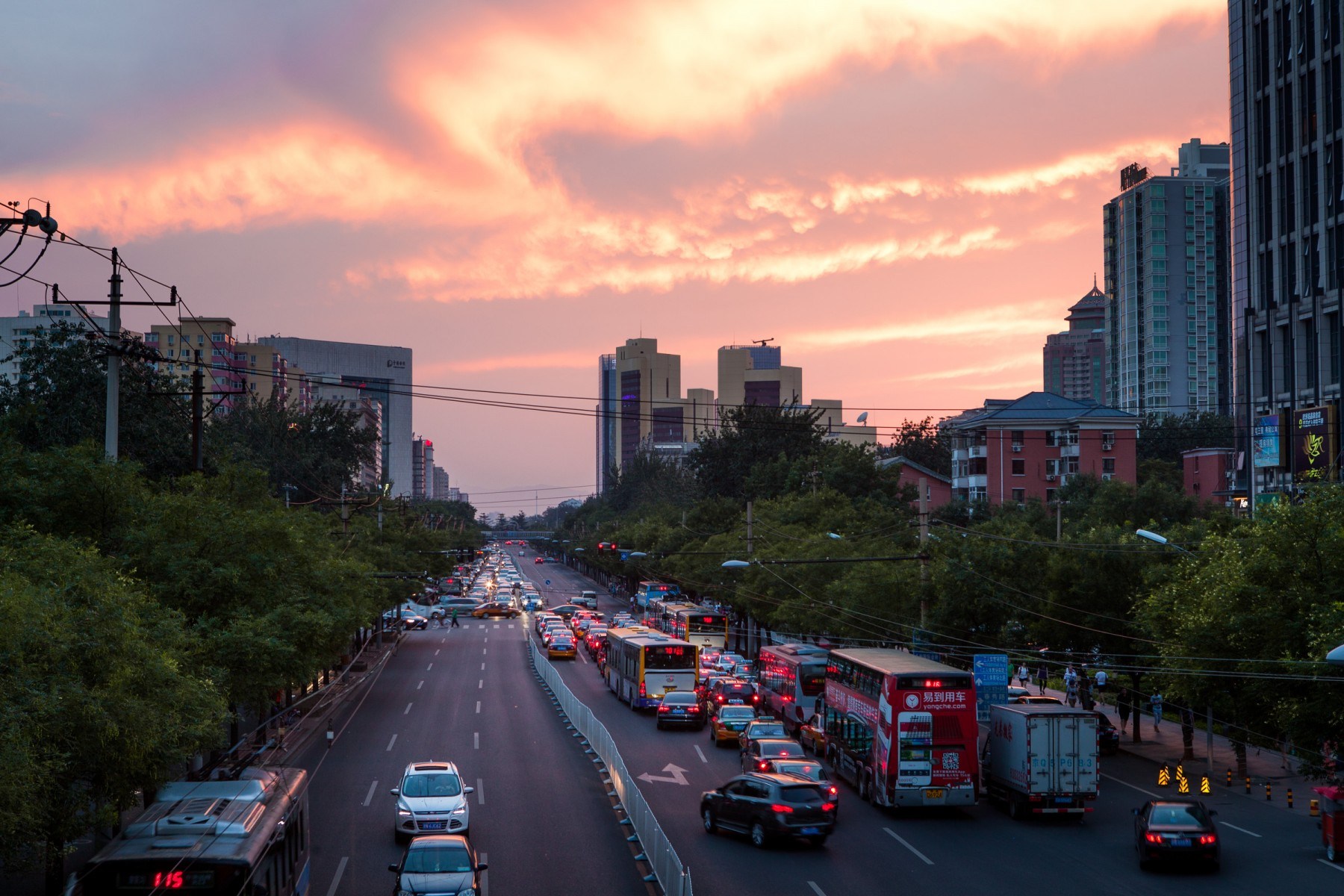 Sunset over the streets of Beijing.
