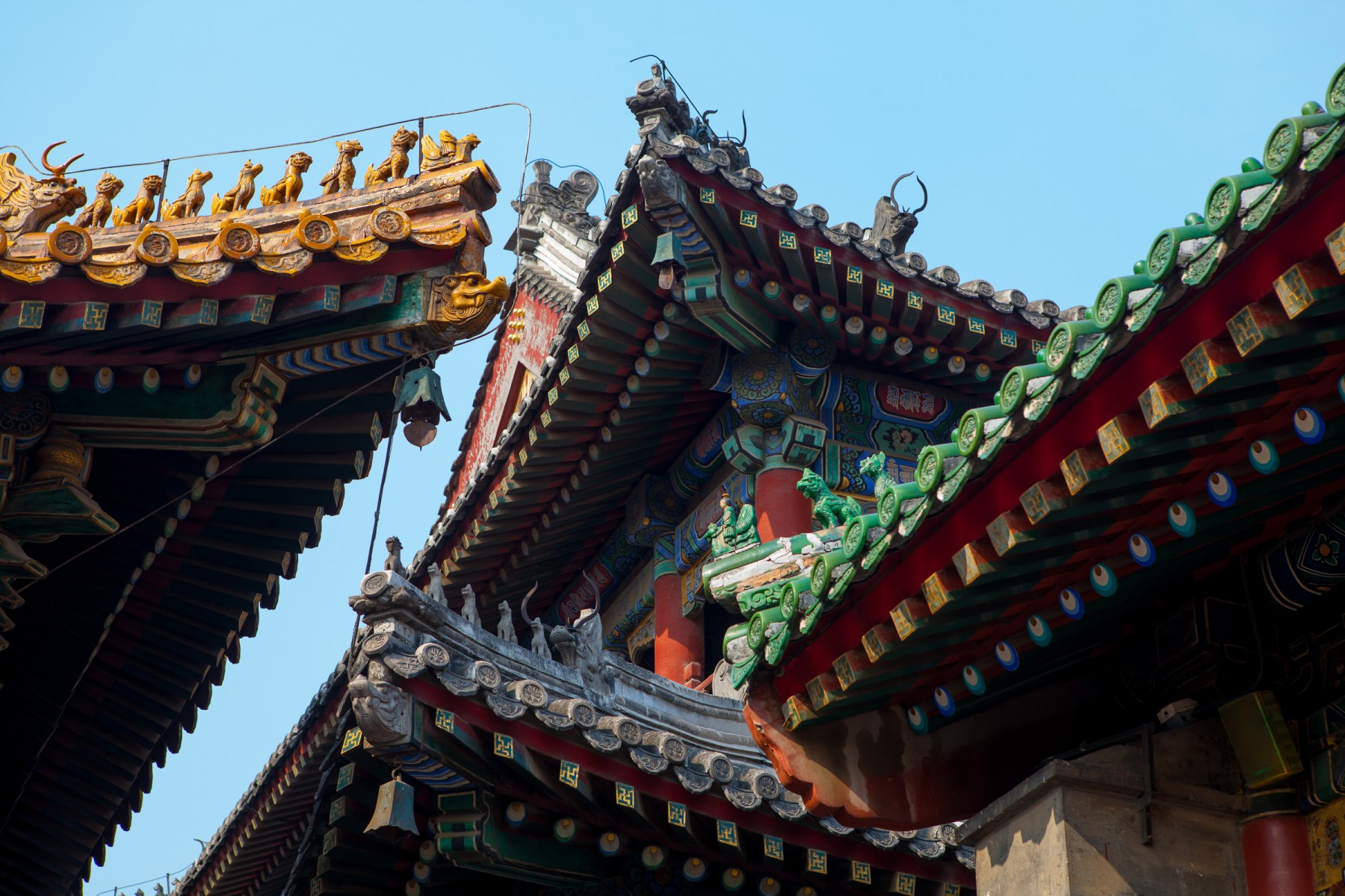 Roof awnings on the Llama monastery in Beijing, China.
