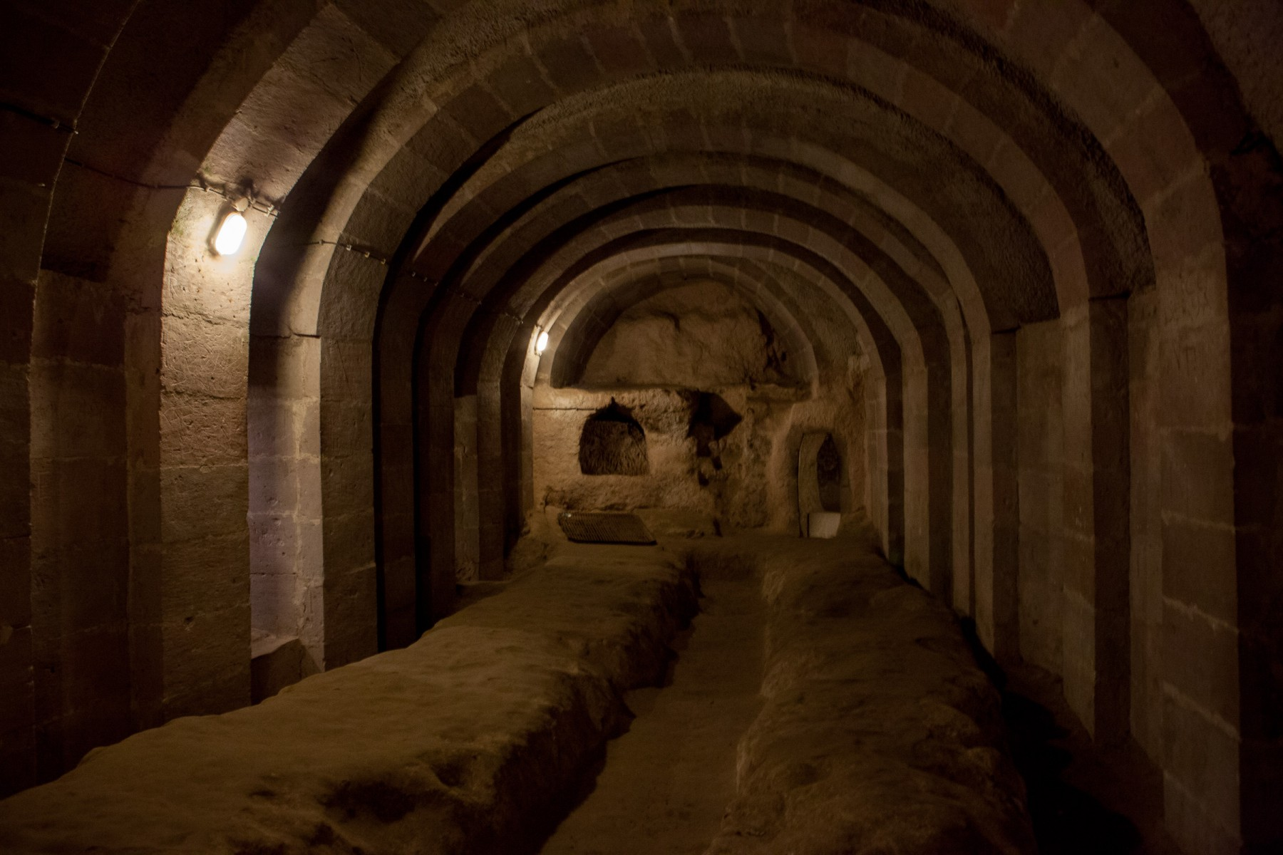 A vaulted cavern in the underground city of  Derinkuyu in Cappadocia, central Turkey. The tunnels were expanded in the Byzantine era, when it was heavily used as protection from Muslim Arabs during the Arab–Byzantine wars (780-1180).
