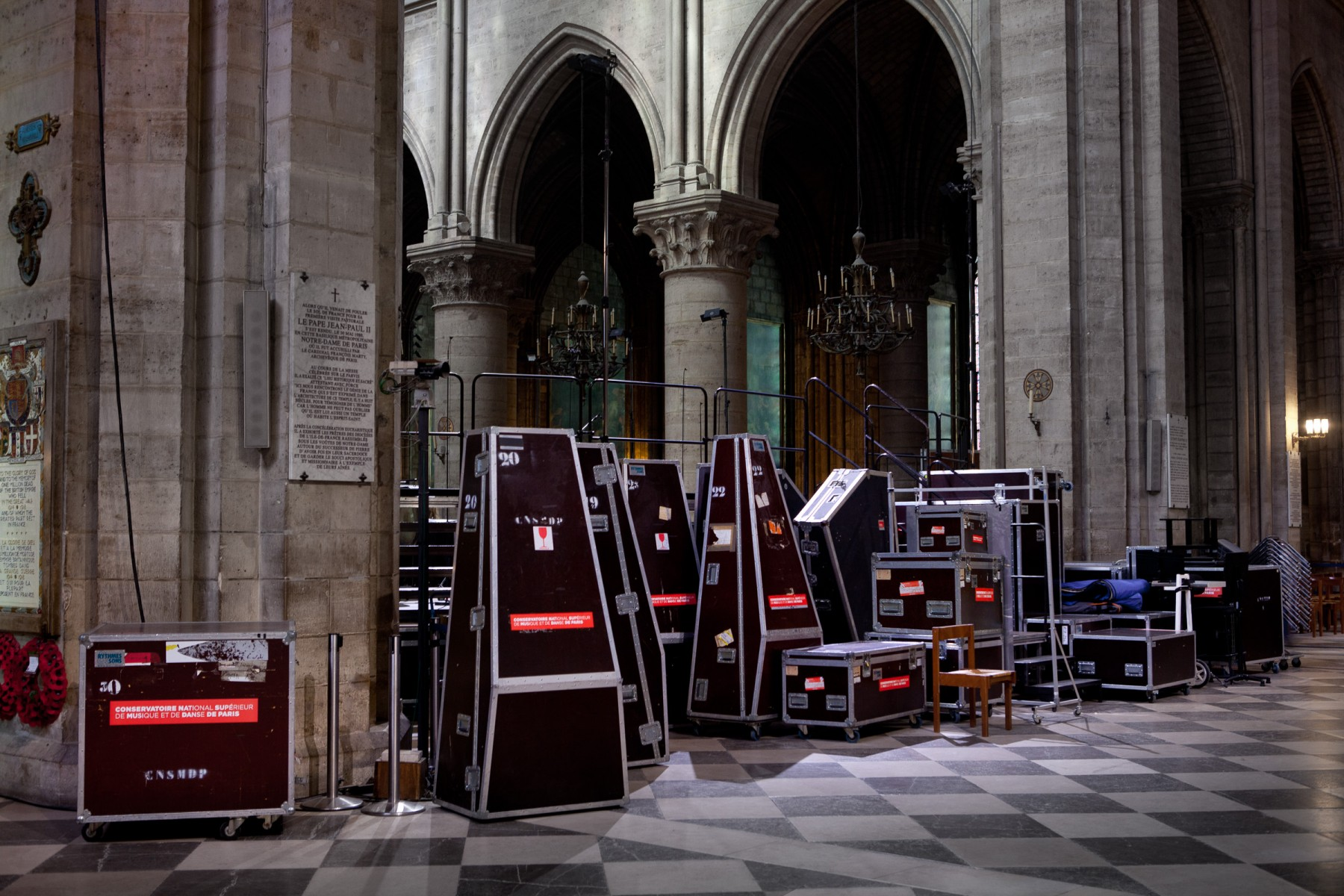 Instrument boxes in Notre Dame.