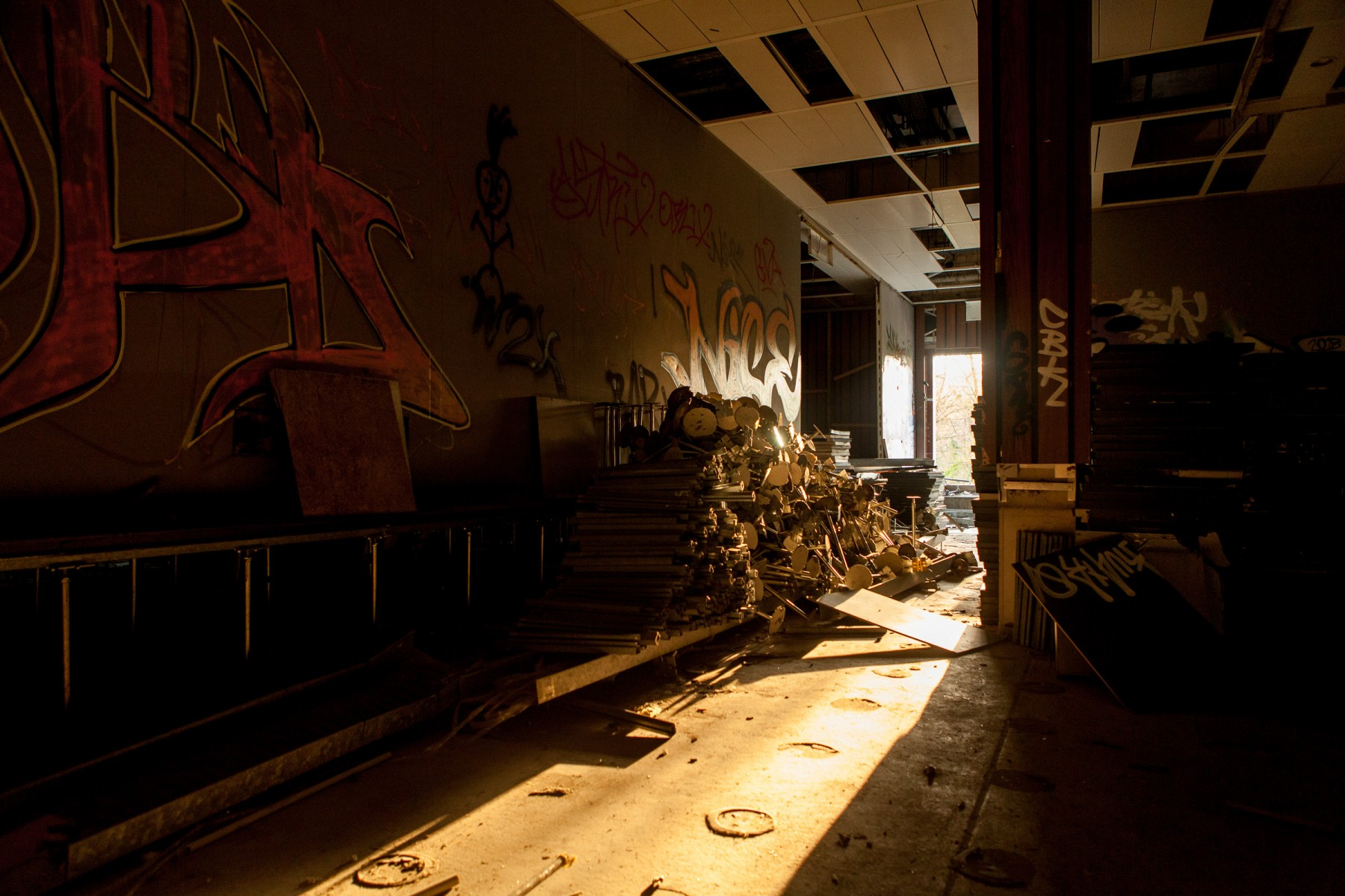 Scrap metal piled in the hallways at Teufelsberg
