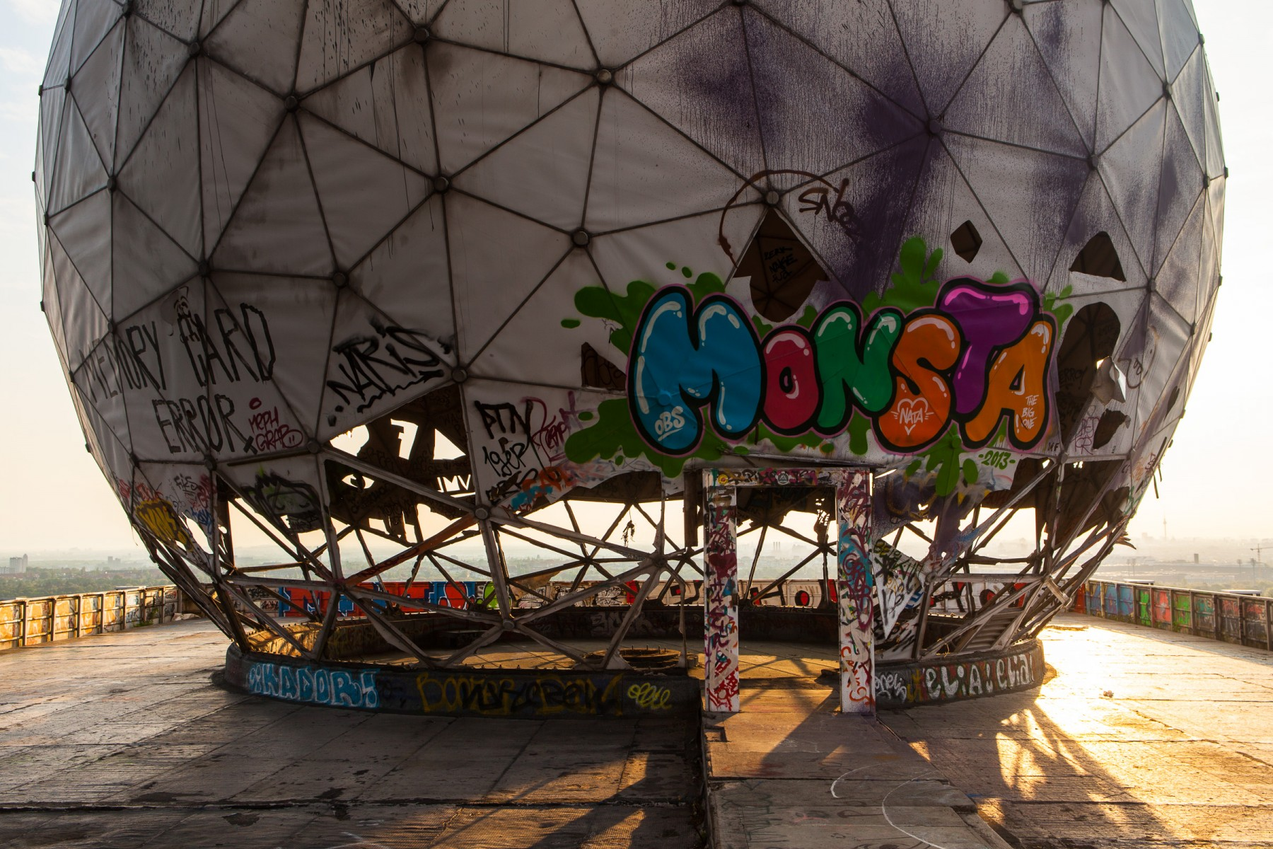 Graffiti on one of the domes at Teufelsberg