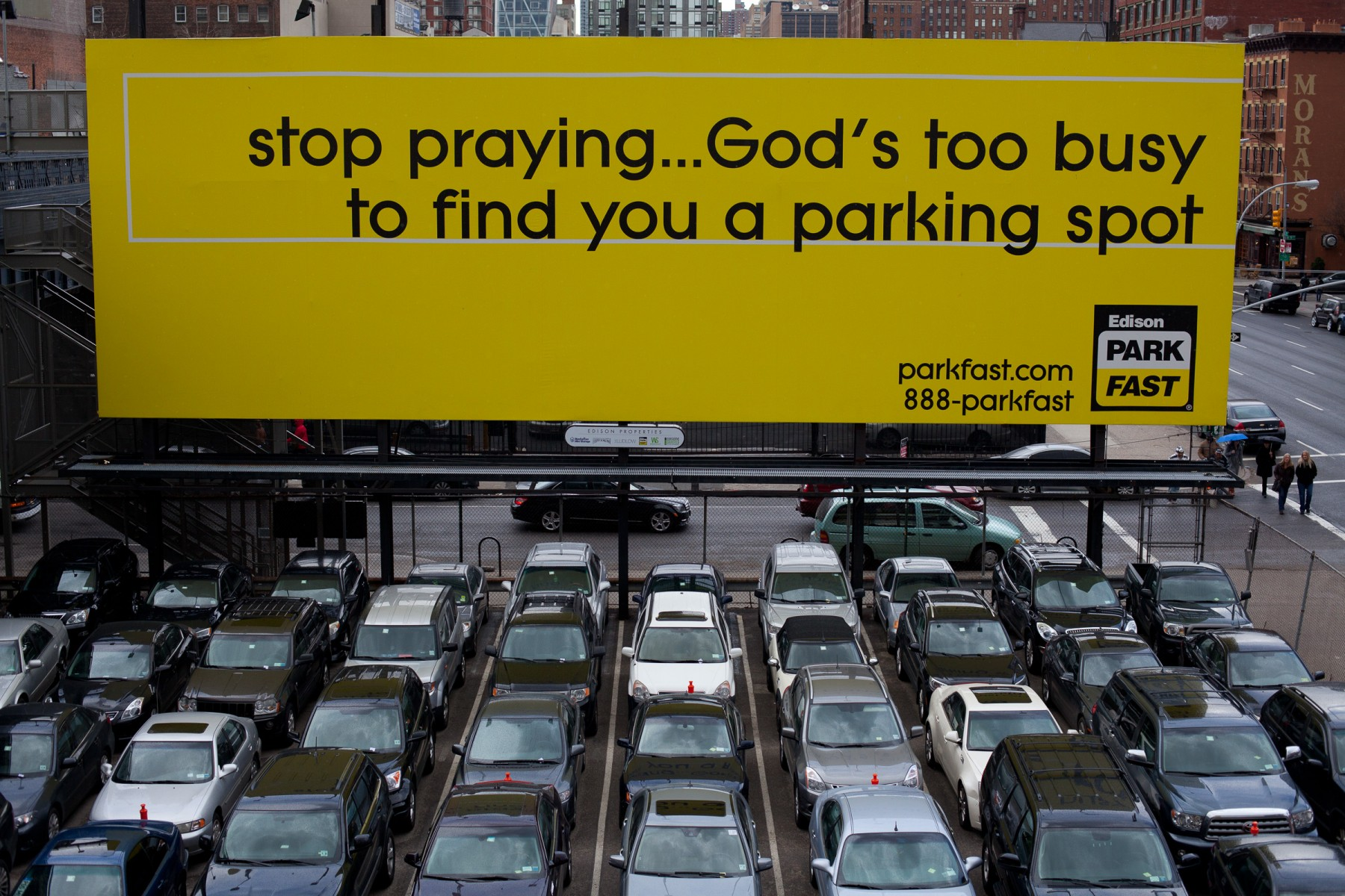 'Stop praying' billboard in NYC