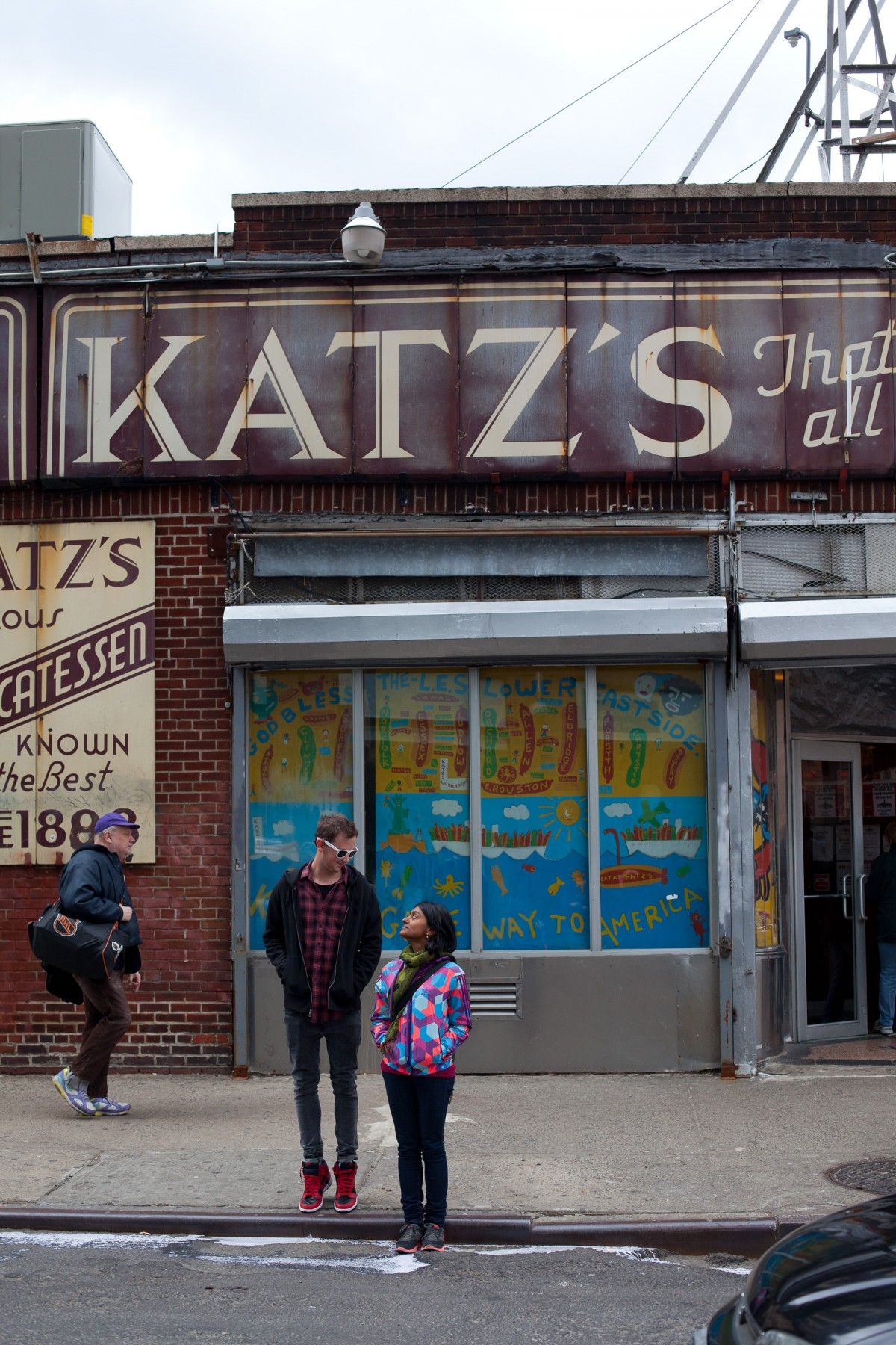"The sign on the front of the building which, according to Wikipedia, ""came about when a sign maker asked Harry Tarowsky what to say on the deli's sign, and Harry replied ""Katz's, that's all"". This was misinterpreted by the sign maker who painted the sign as it stands today on the side of the building."""