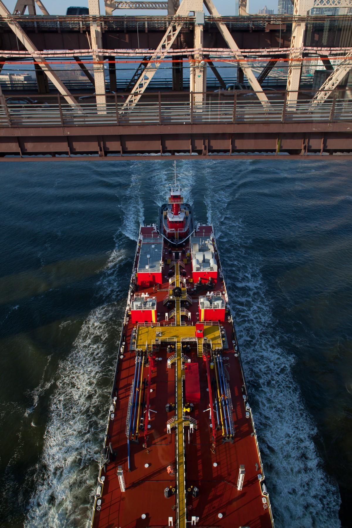 Tanker passing under the Queensboro Bridge