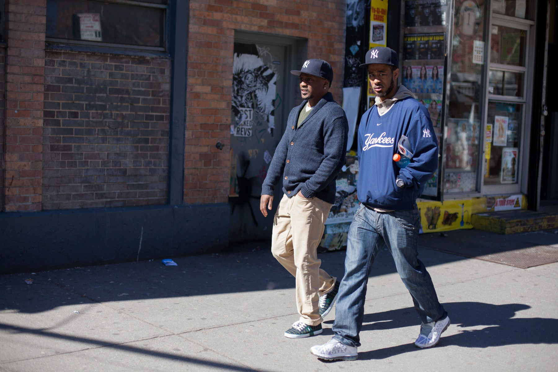 Yankees fans on the streets of New York City.