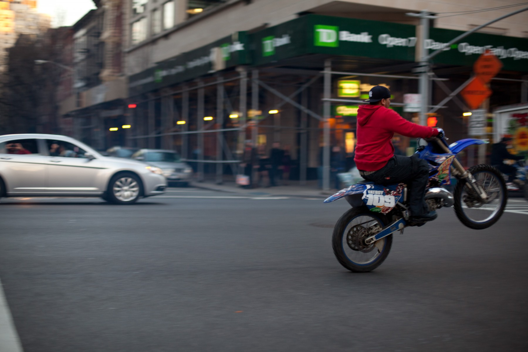 Caught the tail end of a group of motorcyclists hooning through the fancy section of New York. There were cruisers, sports bikes, motorcross and quads in the group so, apparently, the only rule for joining the gang was that you had to have a bike of some sort.