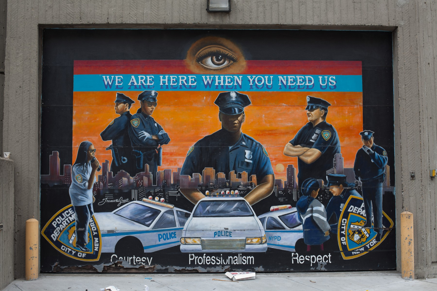 Mural on a police station in Harlem.