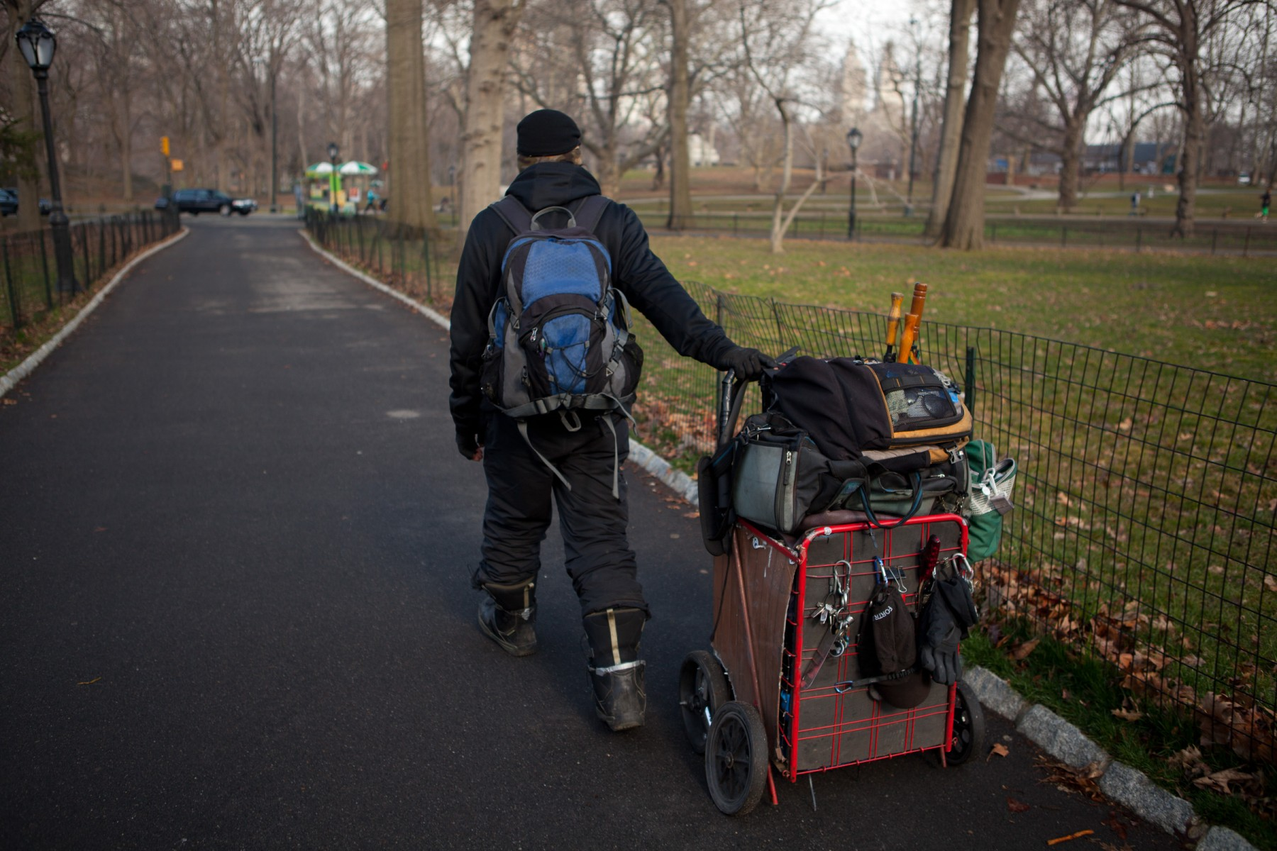 Living rough in central park New York City.