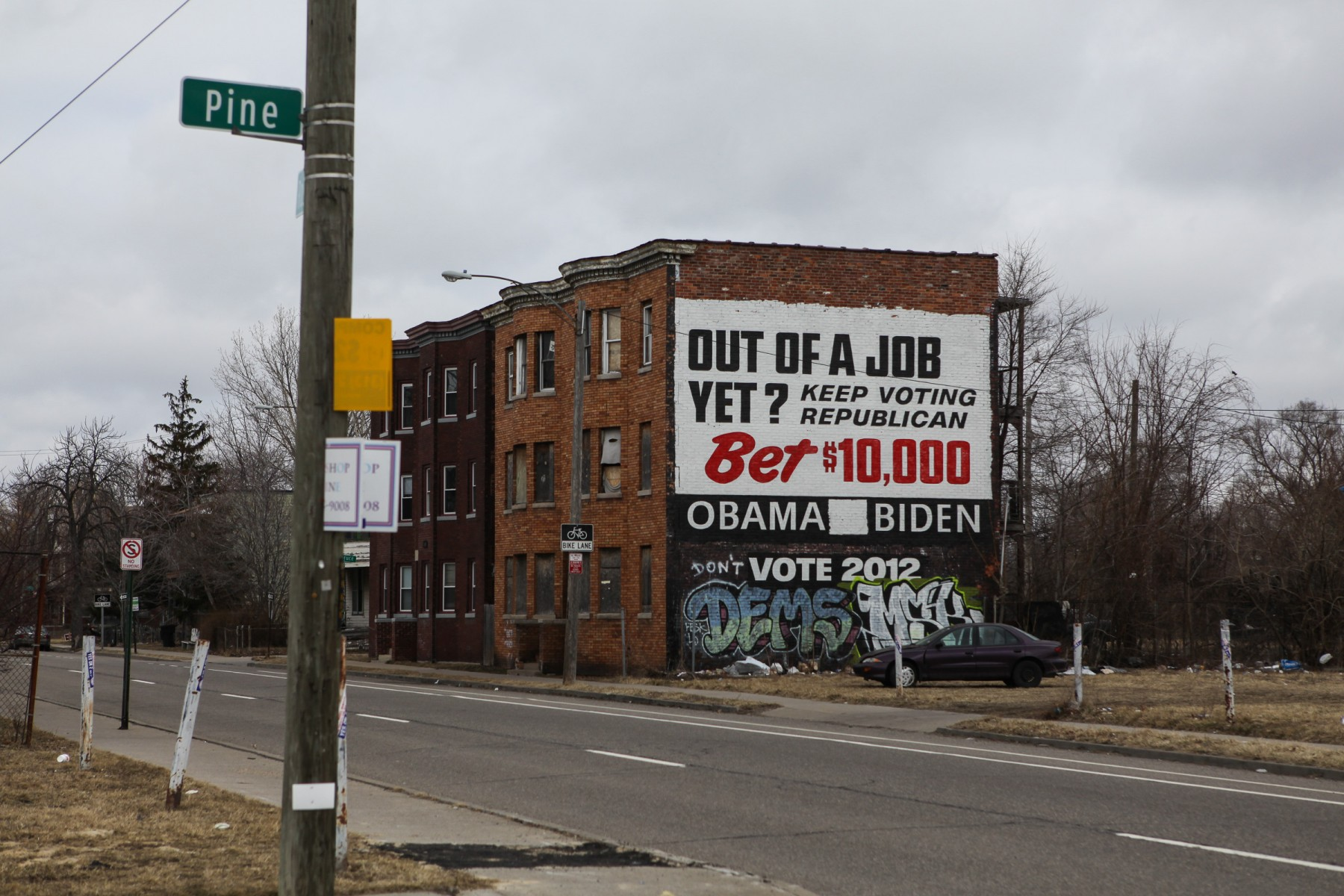 Election advertising on an abandoned building in Detroit.