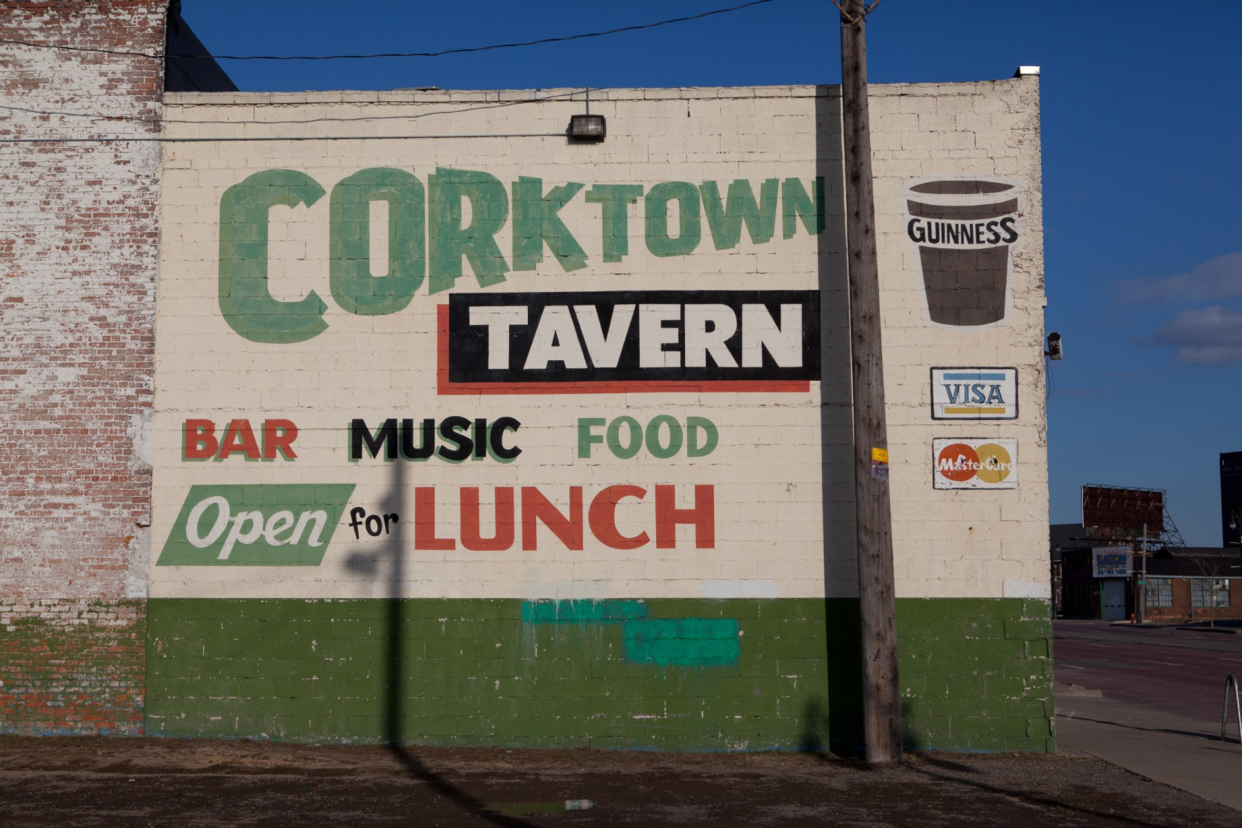 Mural on the outside of the Corktown Tavern