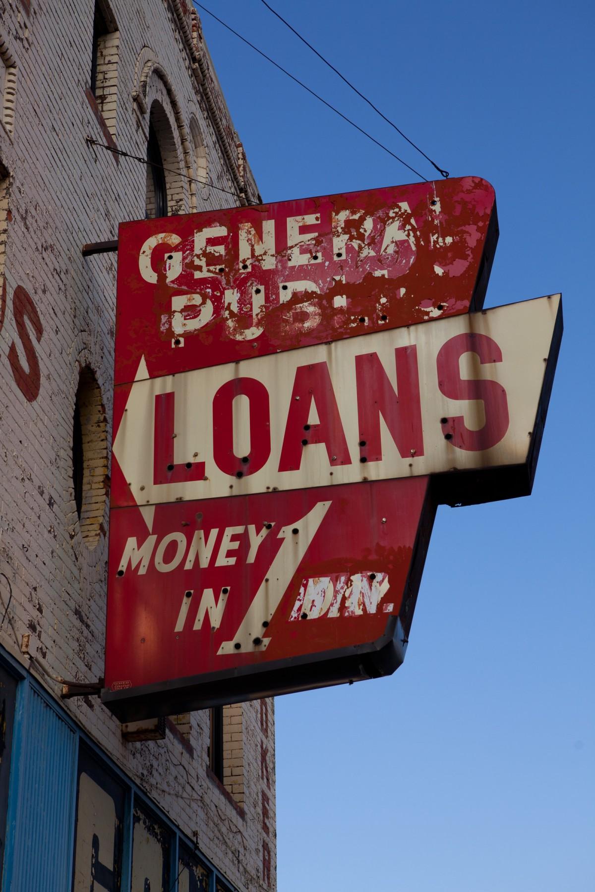 Pawnbroker signage on Michigan avenue in Detroit.