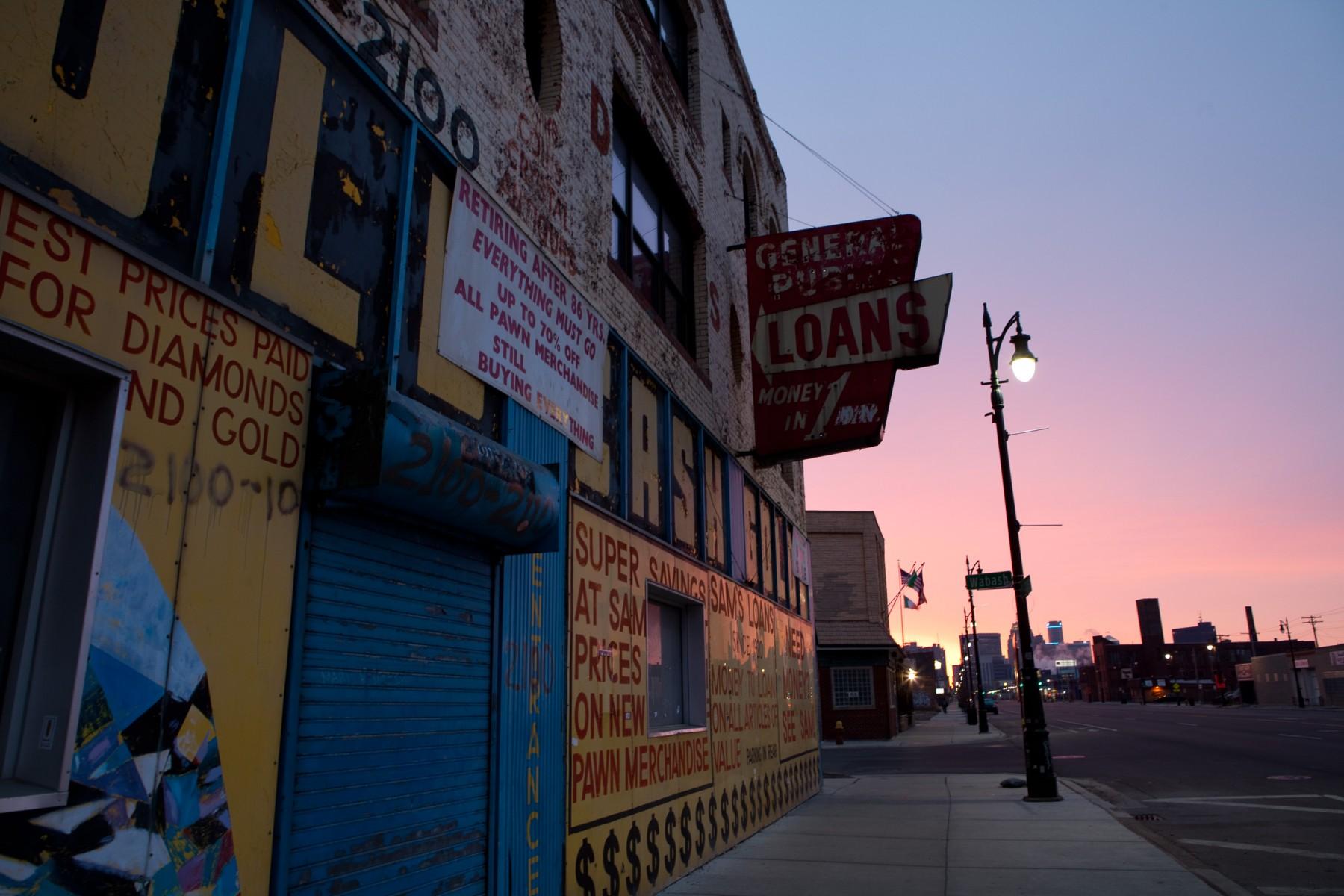 Pawn broker in Corktown, Detroit MI.
