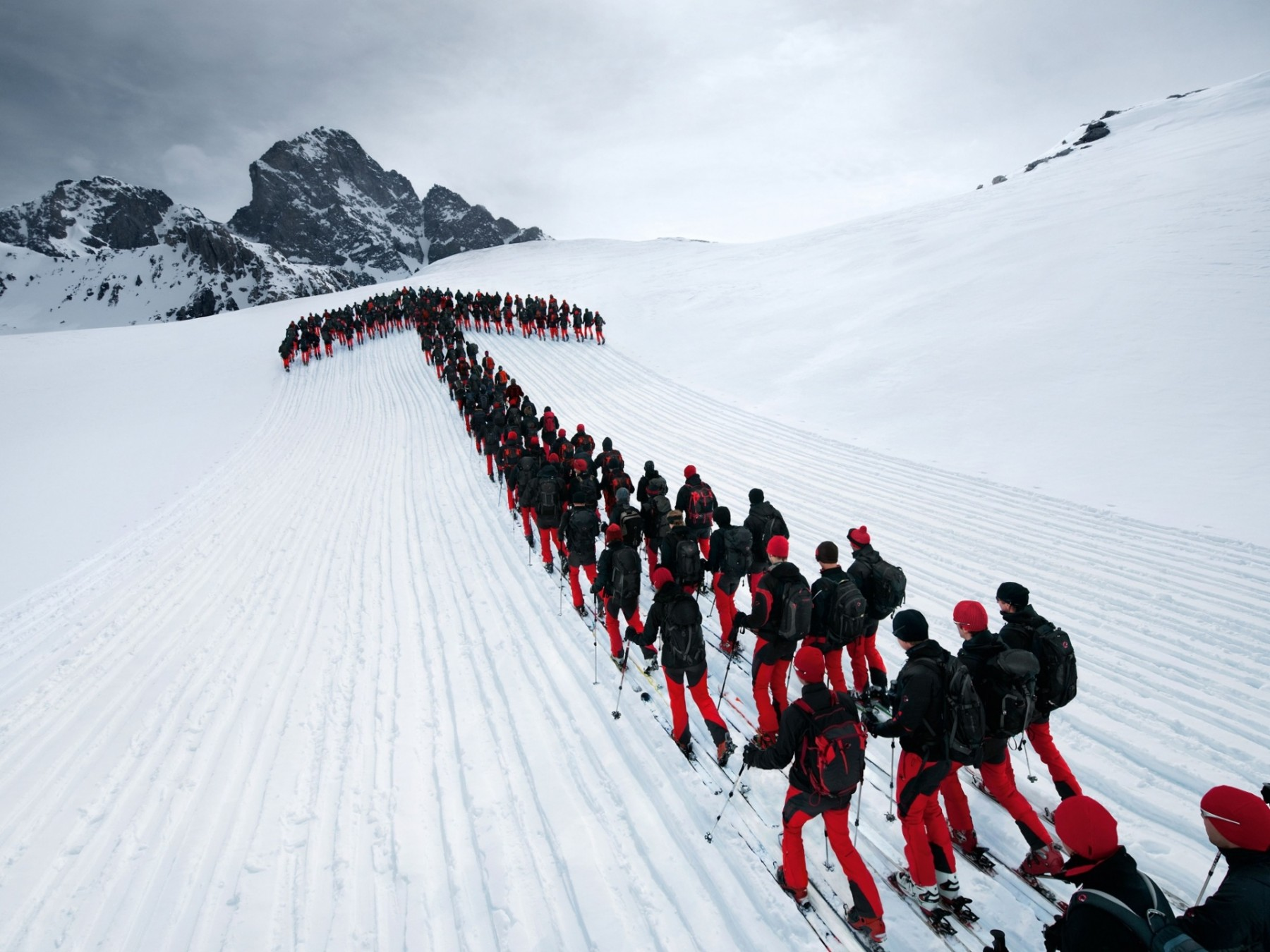 Skiers on the Julier Pass in Switzerland.