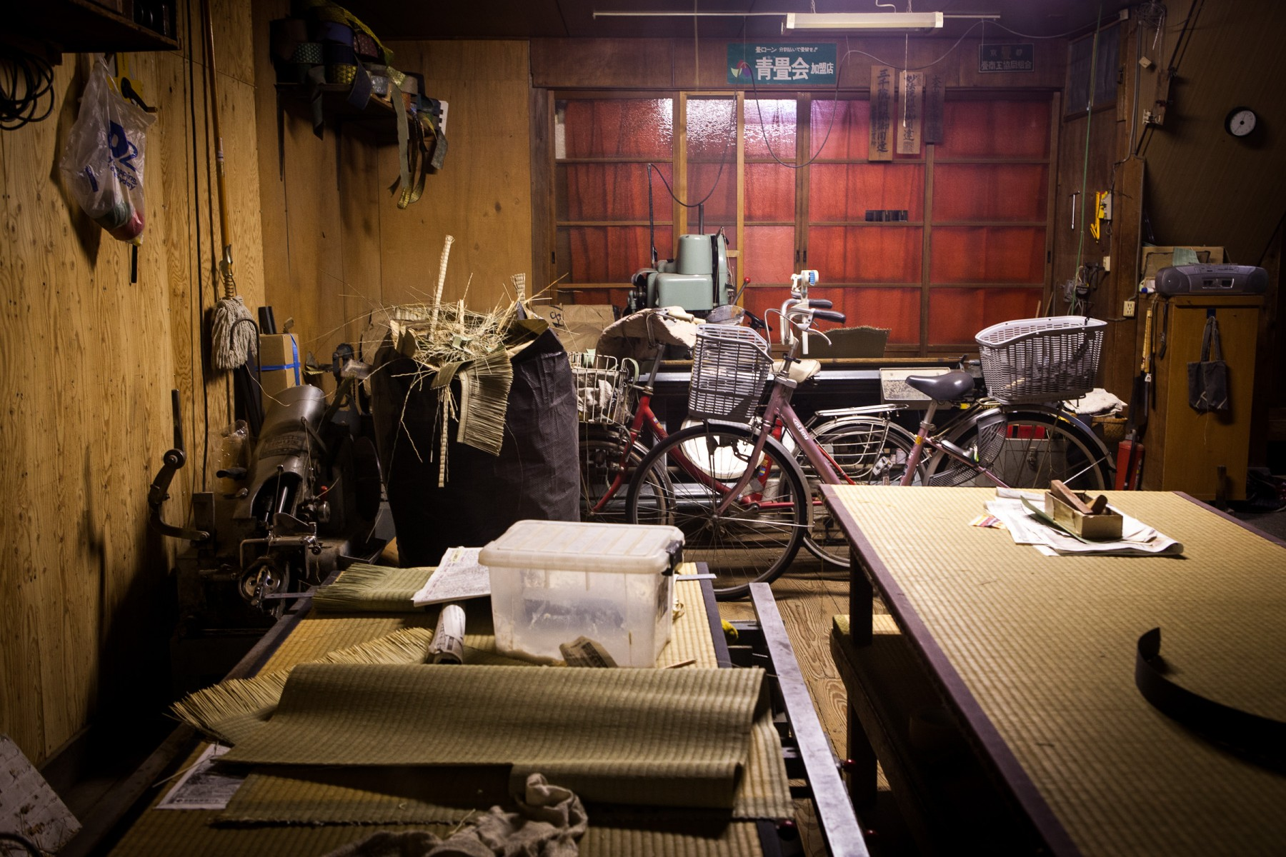 A rare look at a 'messy' garage in suburban Kyoto.