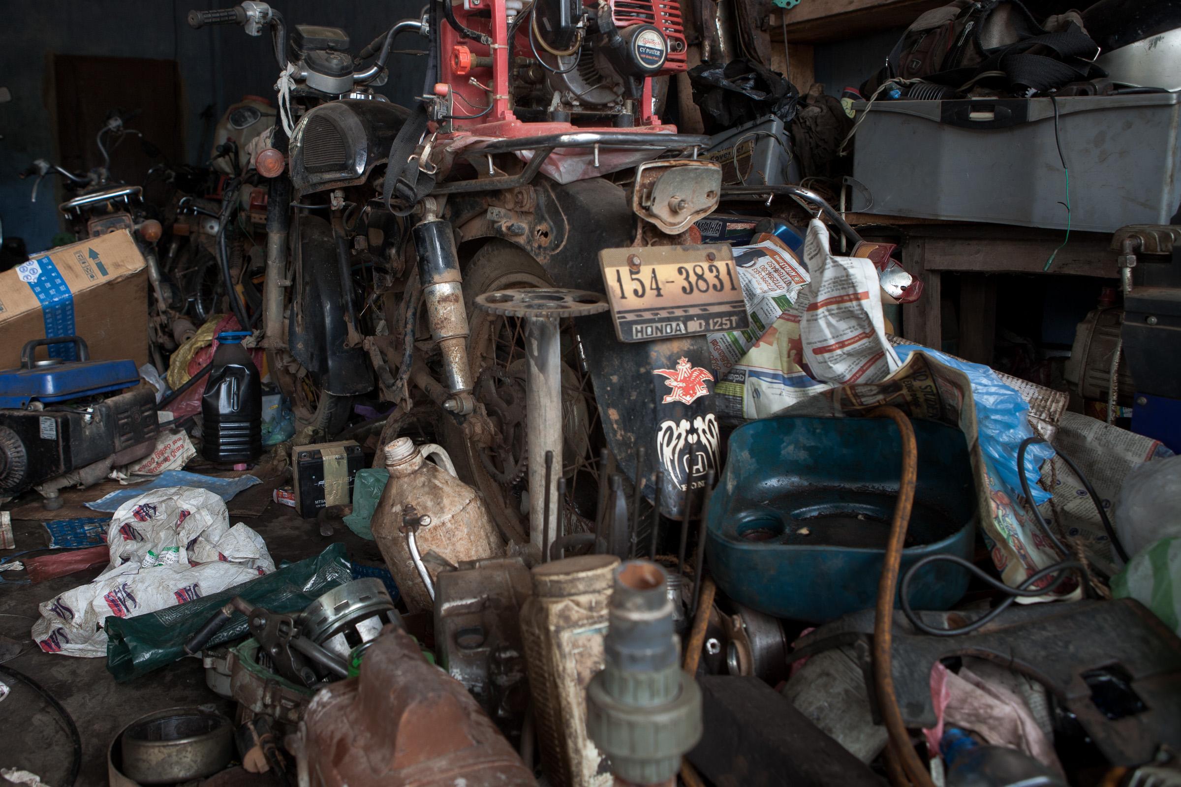 Junk in a motorcycle workshop