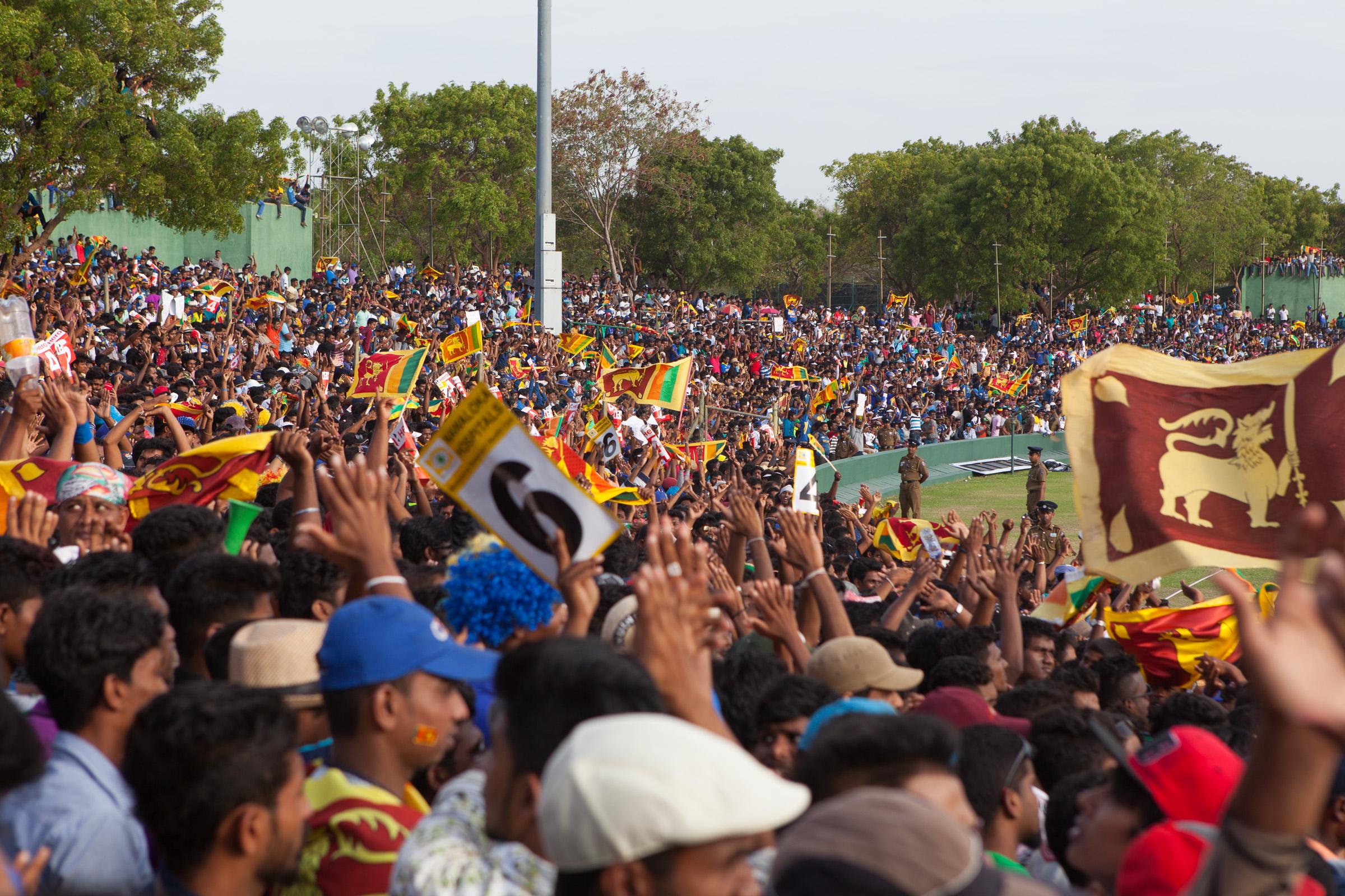 Sri Lankan cricket fans at the Australia v Sri Lankan one-day international at Rangiri Dambulla International Stadium.