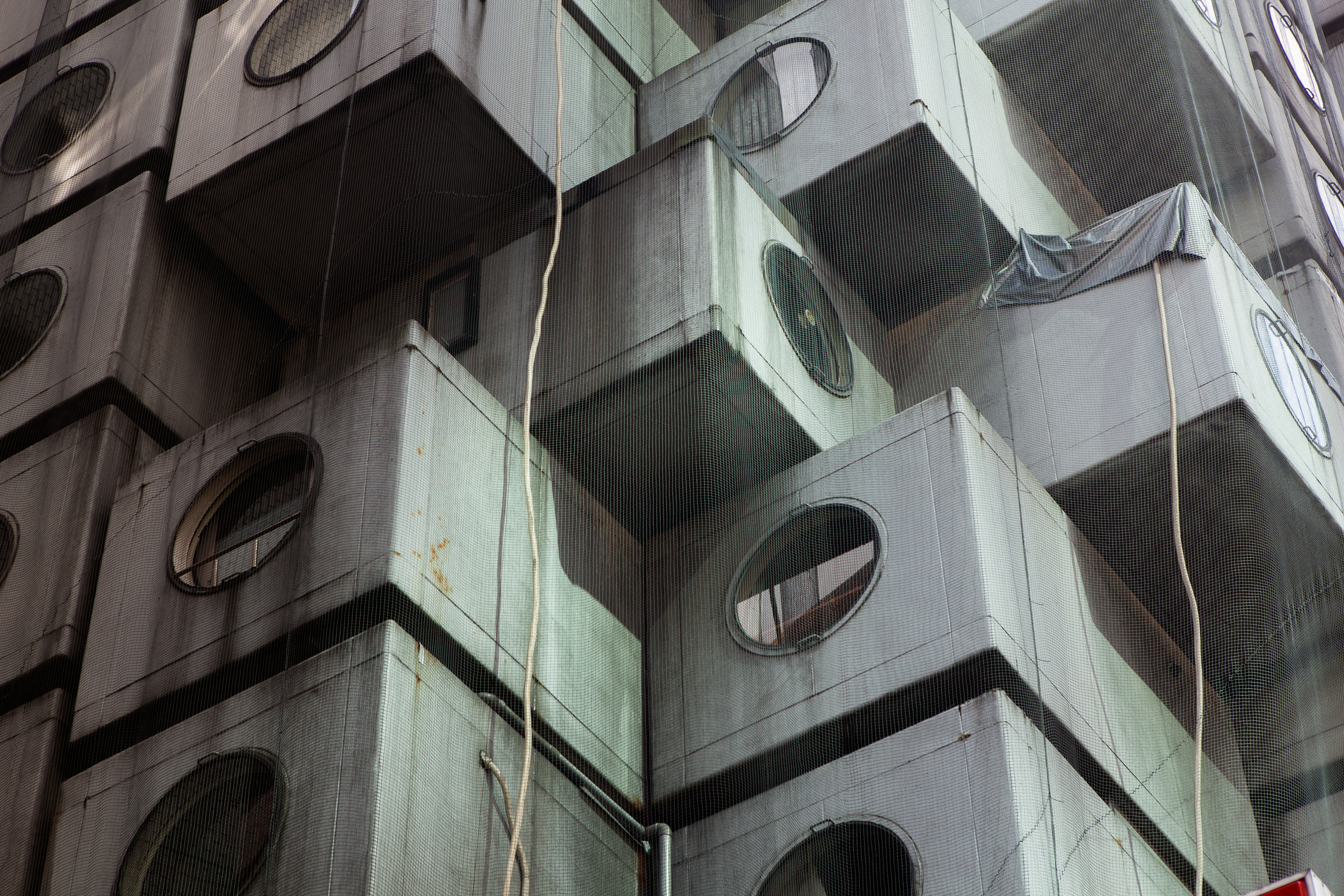 The Nagakin Capsule Tower designed by architect Kisho Kurokawa