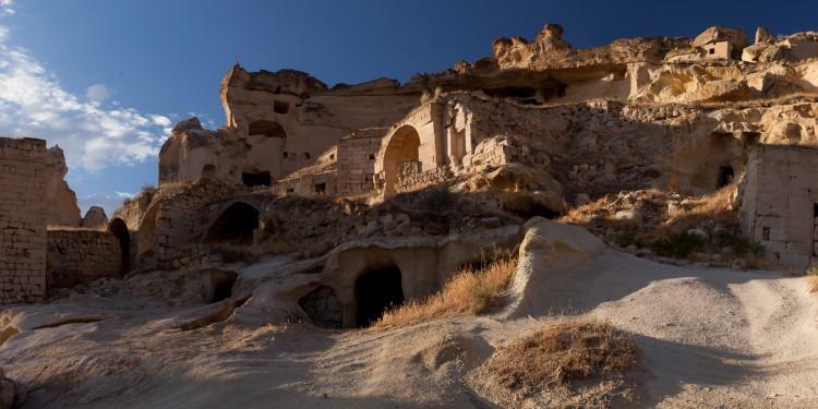 A panorama of the cliffs over Çavuşin in Cappadocia