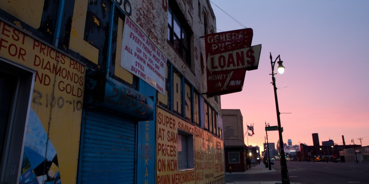 Pawn broker in Corktown, Detroit MI.