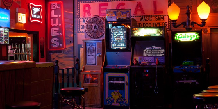 Arcade machines at a bar on Chicago's west side.