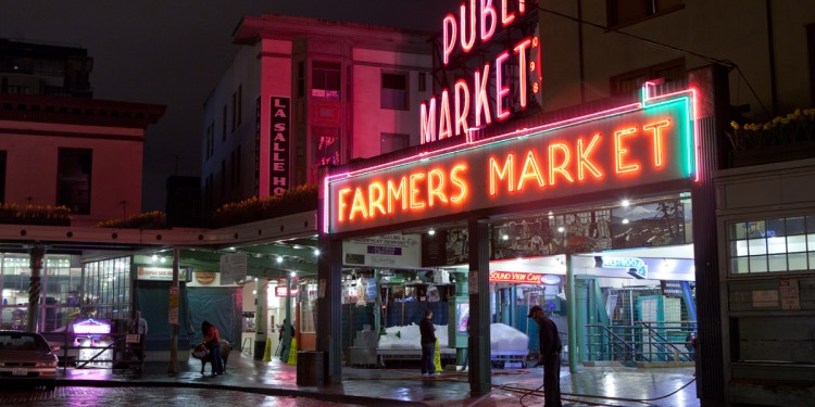 Another shot of the neon at Pike Place Market after dark.