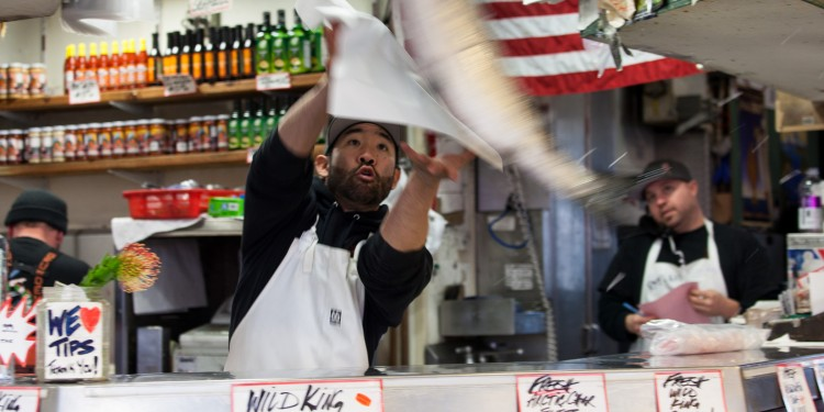 Fish throwing at Pike Place Market