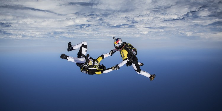 Fred Fugen and Vincent Reffet training in Austria in may 12th for a jump at 33 000 feet (10 km) above the Mont Blanc, France, on May 31st 2014