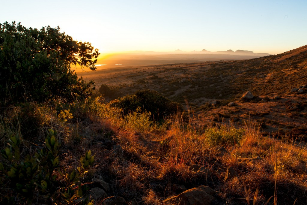 Sunrise from an outcrop at the Mount Everest Game Reserve is situated just outside of Harrismith in South Africa.