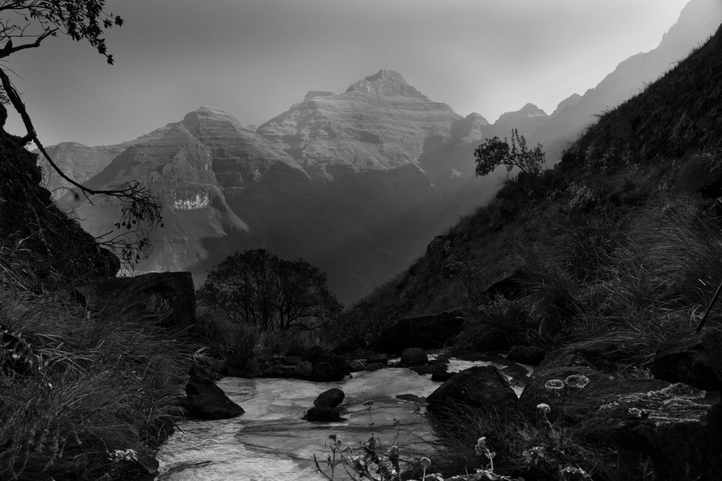 Frozen creek in the Drakensburg range near Cathedral Peak in KwaZulu-Natal, South Africa.