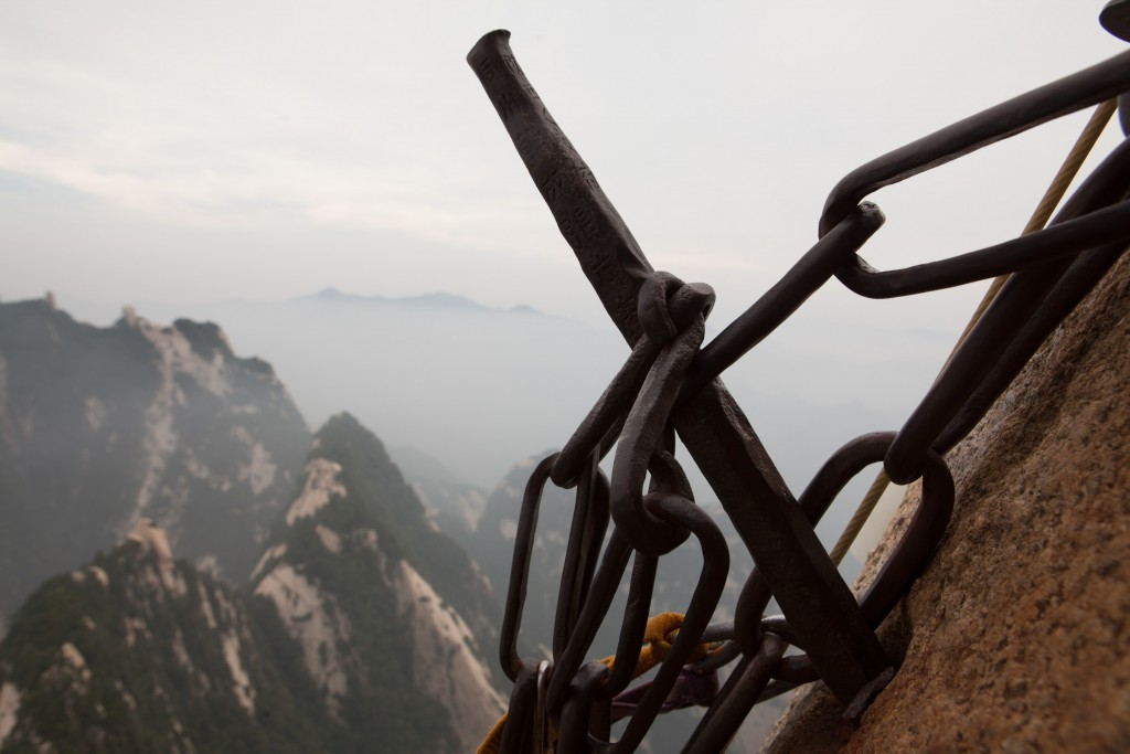 Close up of the steel pins used to support the plank path on Mt Huashan.
