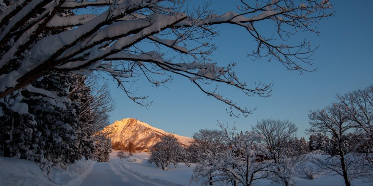Sunrise lights up Mt Myōkō a dormant volcano that lasted erupted about 6000 years ago.