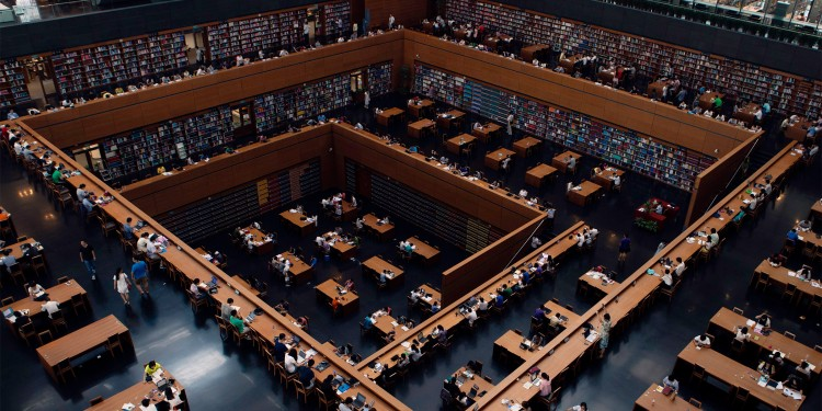Tiered reading room in the National Library of China in Beijing.