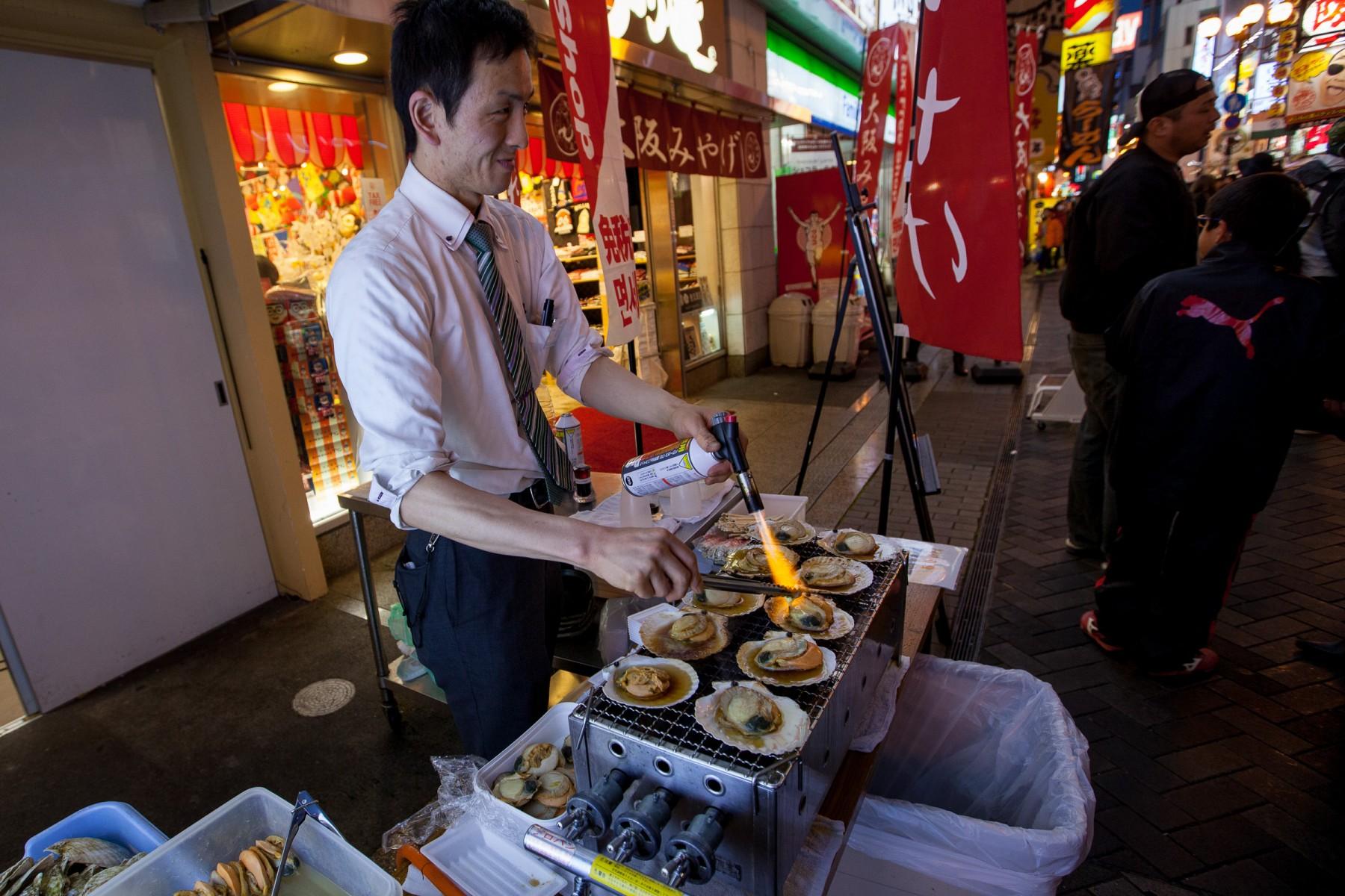 Roadside seafood stall in Osaka.