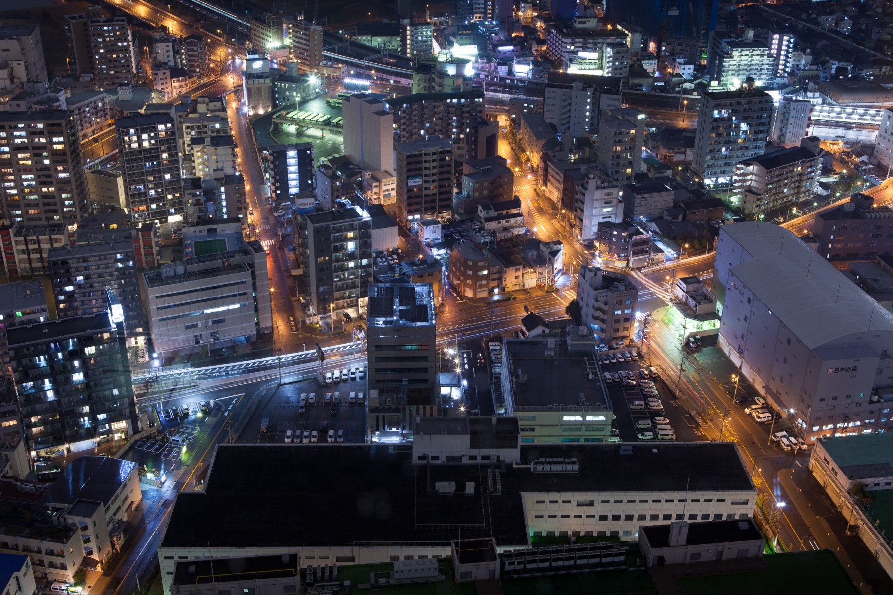 View of the streets below the Umeda Sky Building in Osaka.