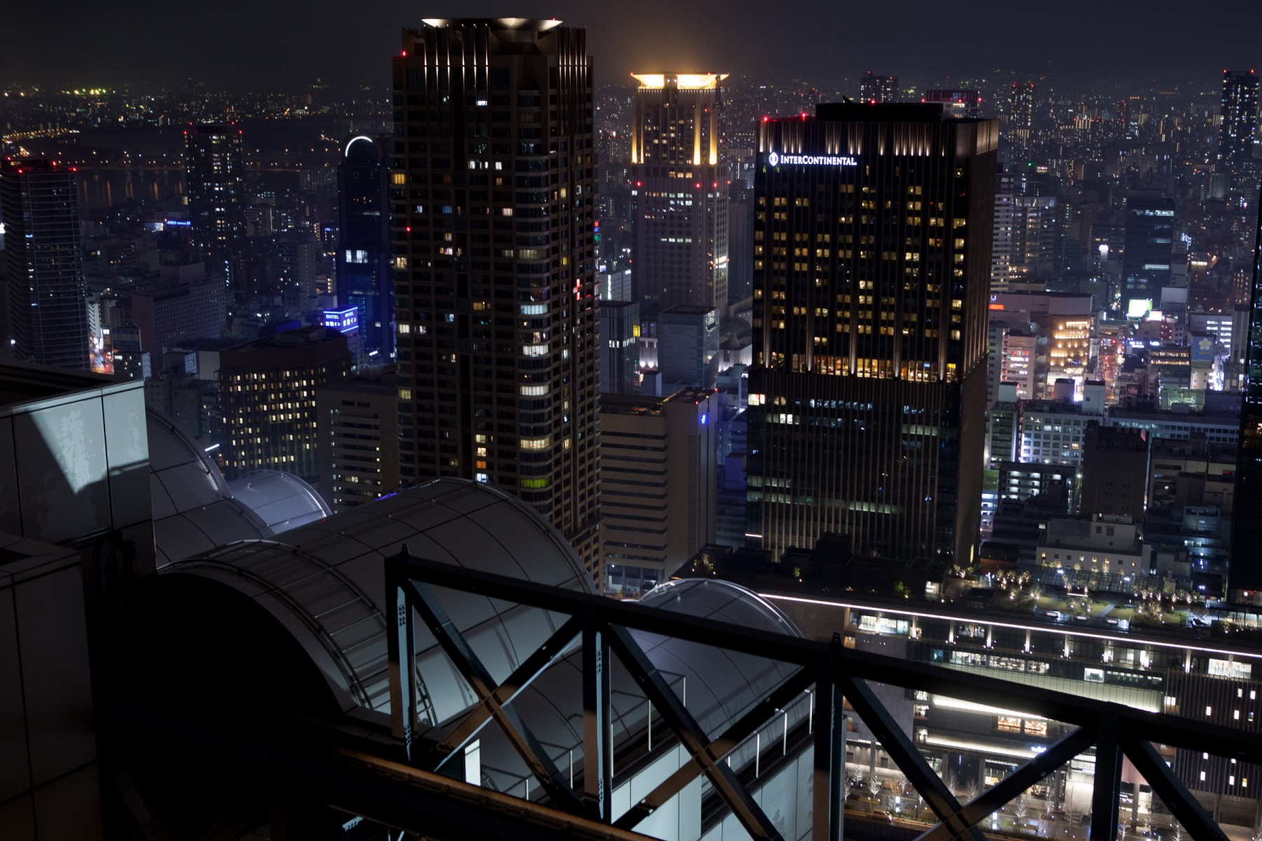 View of downtown Osaka from the top of the Umeda Sky Building.