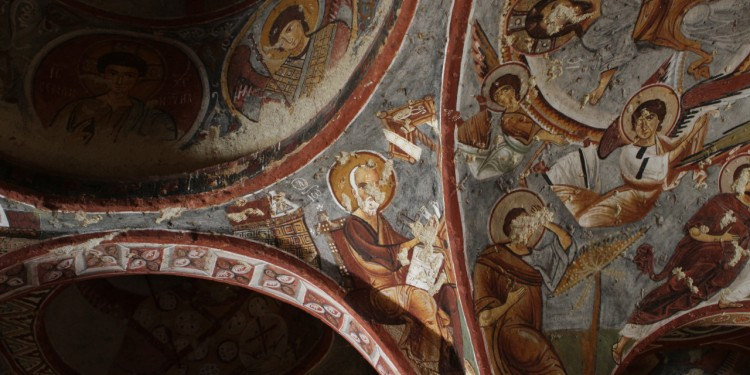Frescoes on the ceiling of a cave church in Göreme, Cappadocia.