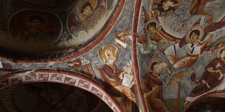 Frescoes on the ceiling of a cave church in Göreme, Cappadocia.