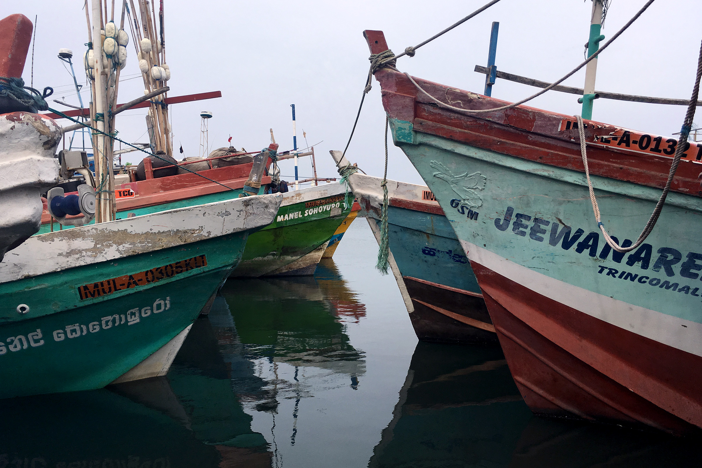 Boats in the harbor at Troncomalee.