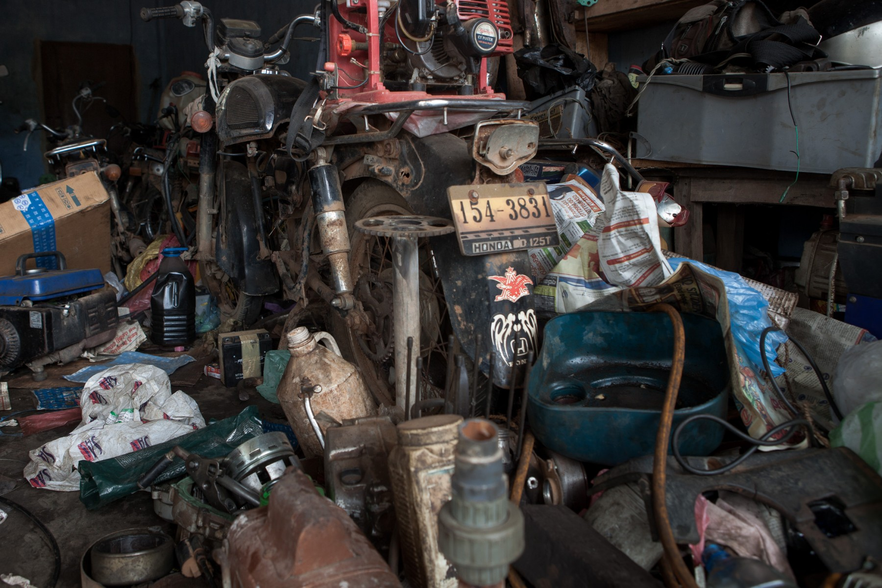 Junk in a motorcycle workshop