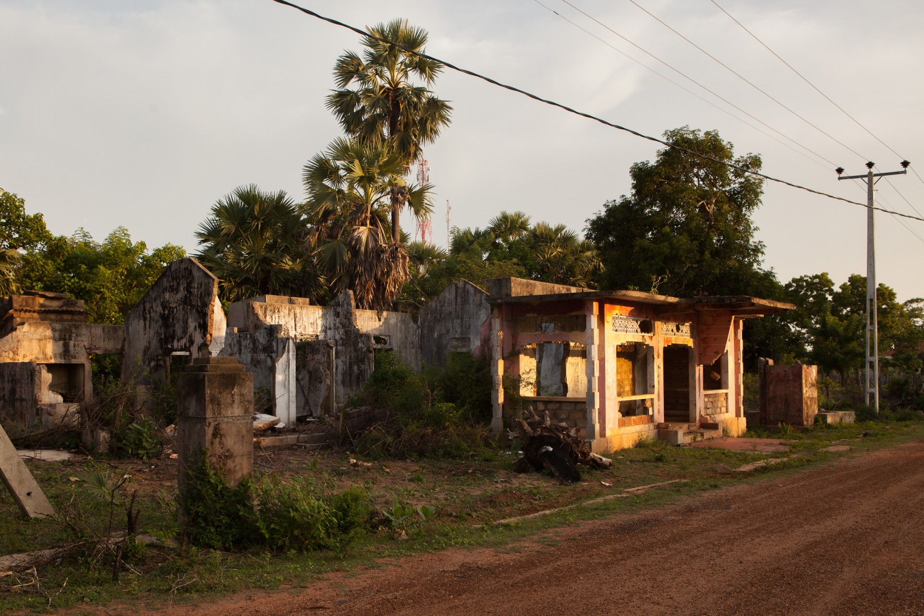 Houses damaged in final days of the Sri Lankan civil war.
