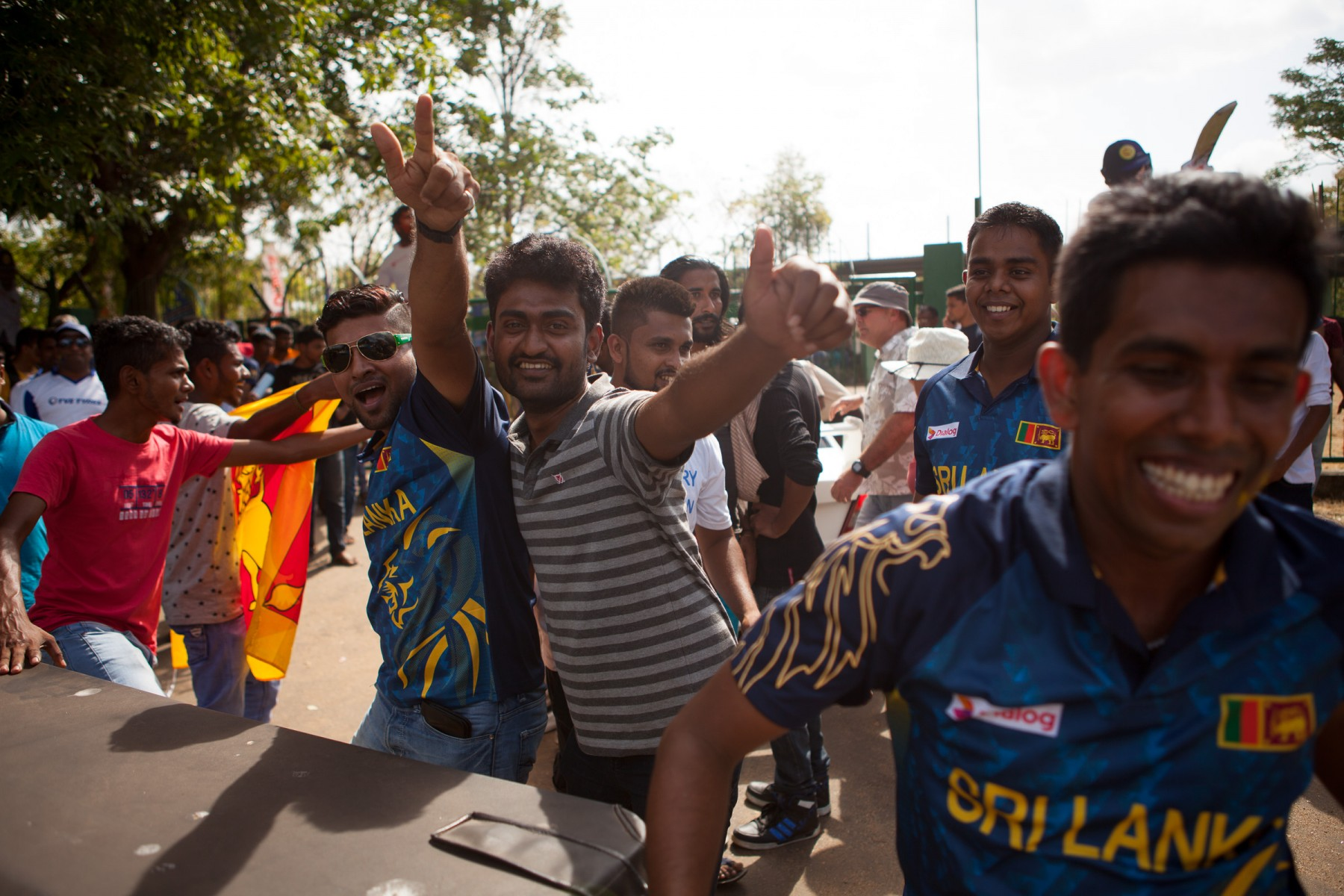 Sri Lankan cricket fans outside Rangiri Dambulla International Stadium during the Australia v Sri Lankan one-day international.