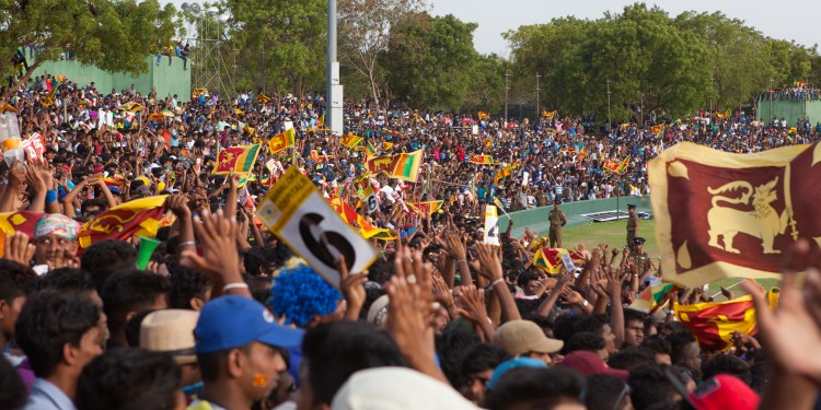 Sri Lankan cricket fans at the Australia v Sri Lankan one-day international at Rangiri Dambulla International Stadium.