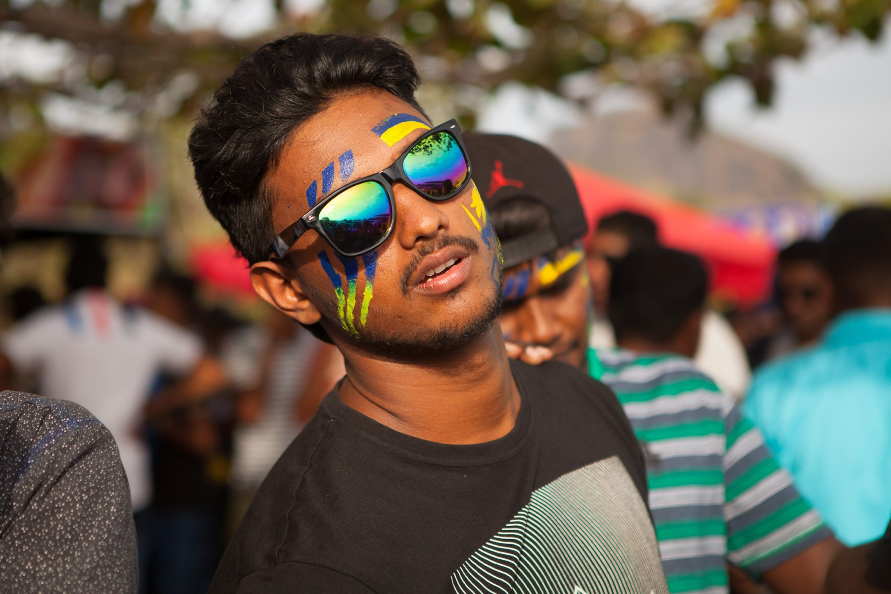 Sri Lankan cricket fan at Rangiri Dambulla International Stadium.
