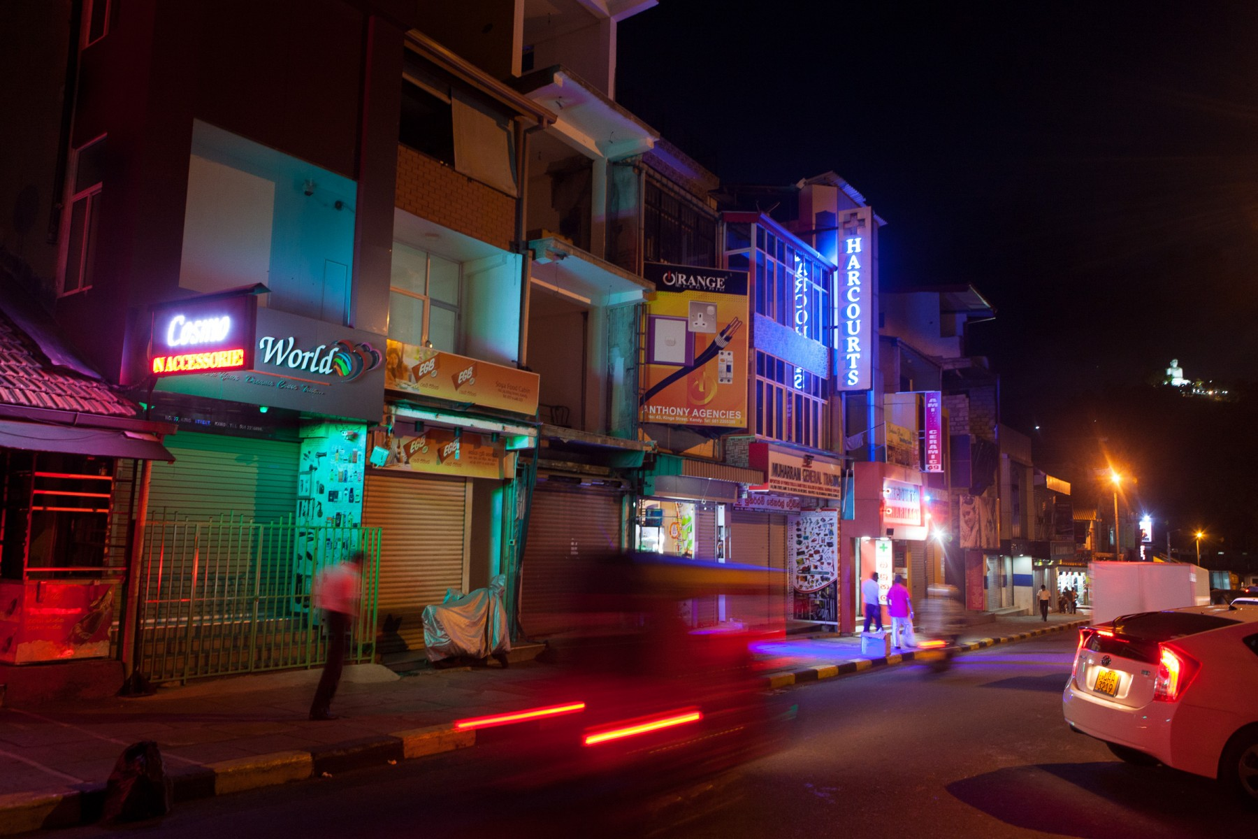 Neon signage on Raja Vedeeya in downtown Kandy.