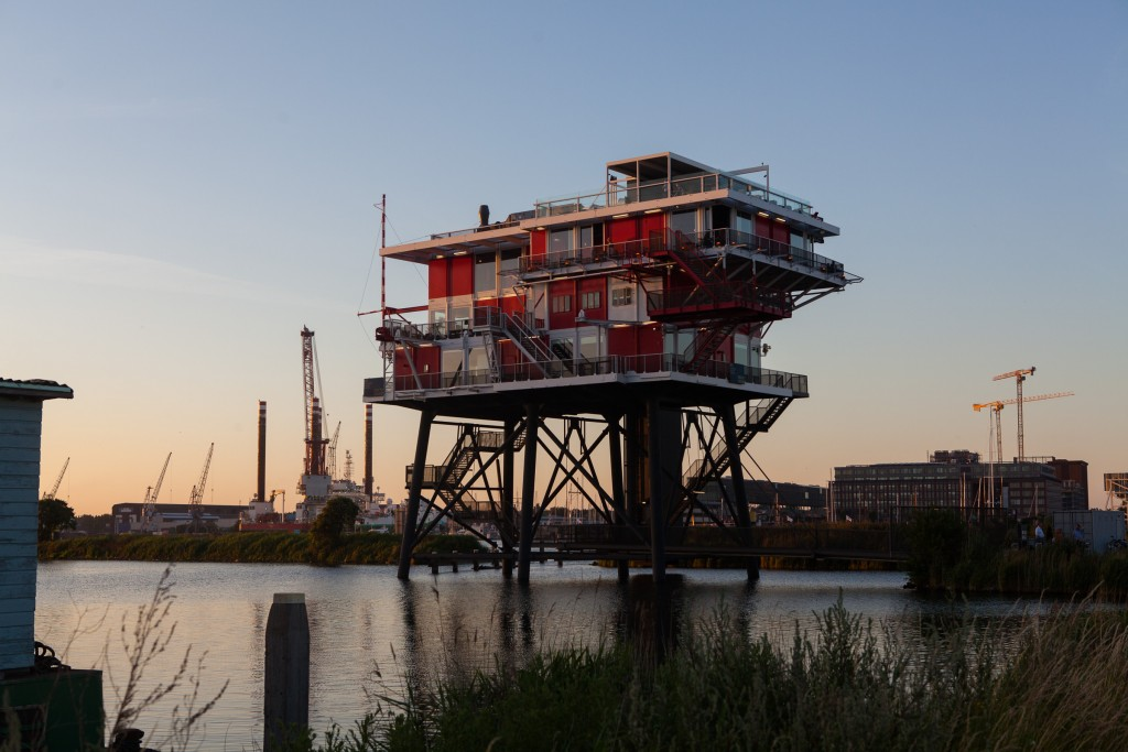 The former pirate radio broadcasting platform that was confiscated by the Dutch government in 1964.  It was salvaged and towed into Amsterdam in 2011 and now serves as an upmarket restaurant.