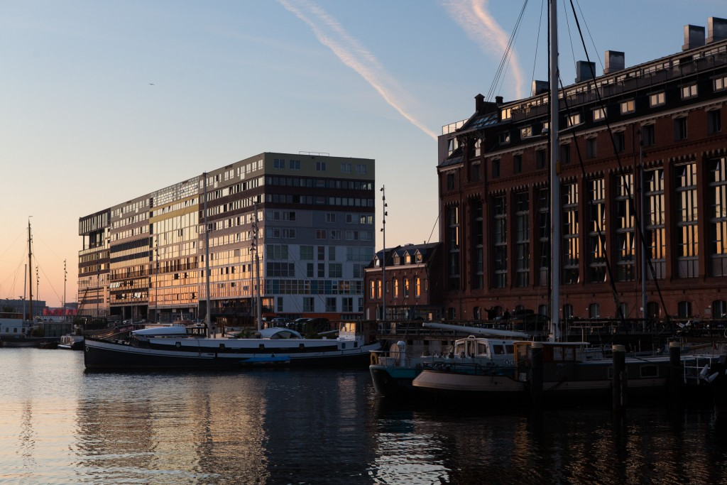 Old and new buildings on the waterfront in Houthaven, Amsterdam.