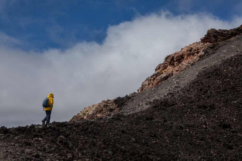 Walking the edge of the cinder-cone atop Mount Ngauruhoe